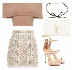 A fashion look from June 2016 featuring eyelet skirt, nude high heel sandals and monogrammed crossbody purse. Browse and shop related looks. Teen Fashion Outfits, Look Fashion, Womens Fashion, Prep Fashion, Fashion News, Fashion Dresses, Looks Chic, Looks Style, Cute Casual Outfits