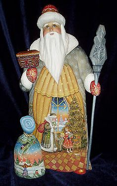 """Gorgeous Russian Hand Carved Wood Santa """" Christmas Holidays """" Father Frost 16 """""""