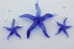 Lampwork Glass Starfish Set earrings and pendant