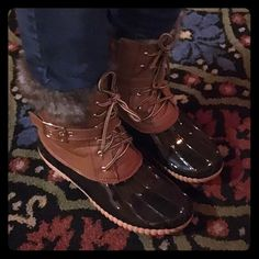 Waterproof Chesnut Duck Boots Fleece lined, waterproof patent looking rubber soles. Super comfy and warm! True to size. Shoes Winter & Rain Boots
