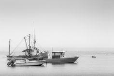 Green Eyed Lady And Friends III http://mabrycampbell.com #image #photo #blackandwhite #maine #boats #fishingboats #water #seascape #fog #fogy #mabrycampbell #threeboats #trawler #white #highkey