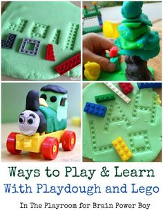Combining LEGO and playdough makes for a very fun activity. See five awesome ways to play including trains, puzzles, playdough mats, sculpture and more. Playdough Activities, Lego Activities, Craft Activities For Kids, Preschool Activities, Crafts For Kids, Bentgo Kids, Toddler Play, Toddler Preschool, Legos