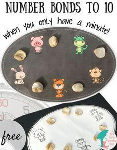 You can learn number bonds to 10 even when you only have a minute! (Katie's note: This is literally the best method I have found for pre-k kiddos) Preschool Math, Fun Math, Teaching Math, Math Activities, Teaching Ideas, Math Games, Teaching Resources, Kindergarten Freebies, Classroom Freebies