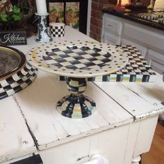 Hand Painted Original Black / White CHECK Pedestal by SweetStops