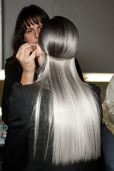 Fashion gray grey hair silver