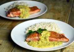 Salmon with mango sauce and coconut rice. Easy dinner that can impress anyone. Perfect for a special night.