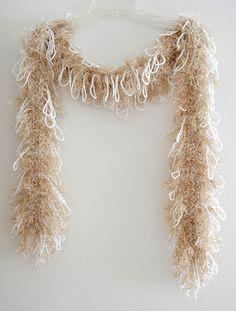 Handmade Glamour Scarf Glitter Gold Eyelash Yarn by MerlinDesigns, $35.00