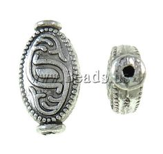 Zinc Alloy Flat Beads, Oval, antique silver color plated, nickel, lead & cadmium free, 9x17x4.50mm,china wholesale jewelry beads***0,066/ 0,056