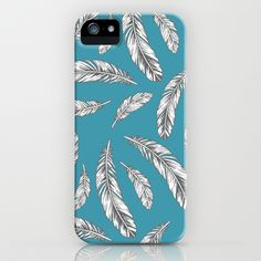 Feathers on Teal iPhone & iPod Case by Kristin Nohe - $35.00
