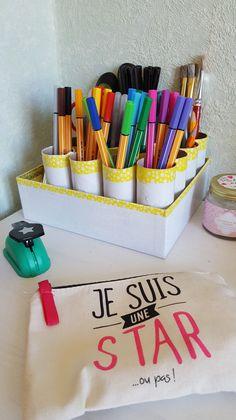 DIY pour recycler un #boîte en #carton en #rangement de #bureau avec #babou par Nadege Dzidéesdenana