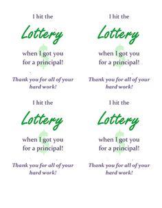 Teacher Appreciation Tap  Gift Ideas    Lottery