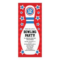Shop Bowling birthday party invitation with pin created by TheStationeryShop. Personalize it with photos & text or purchase as is! Birthday Pins, Sports Birthday, Boy Birthday Parties, Birthday Ideas, Sports Party, Diy Birthday, Bowling Birthday Invitations, Custom Invitations, Red Background