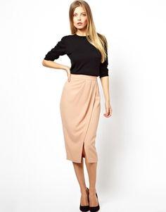 Image 1 ofASOS Wrap Pencil Skirt in Crepe $56.95