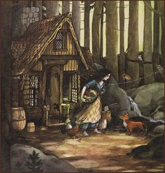Snow White illustrated by Trina Schart Hyman ~ 'Caring for the home'