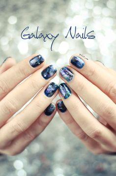 Galaxy nail art with tutorial