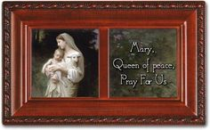 Cottage Garden Mary Queen Of Peace Woodgrain Petite Music Box / Jewelry Box Plays Ave Maria