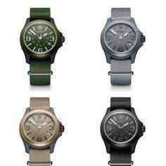 Victorinox Swiss Army Knife watch; simple; green; brown; black; grey; time; classic; original