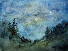 Fine Art Print of original watercolor painting, watercolor landscape, forest painting, woodland painting, night sky watercolor. by RPeppers on Etsy https://www.etsy.com/listing/221480549/fine-art-print-of-original-watercolor