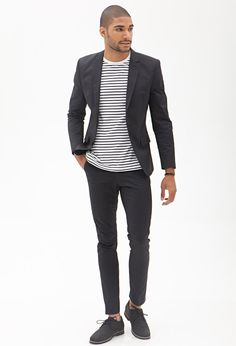 Tops [Shirt] (crew neck, striped, black and white) Outerwear [Blazer] (grey, casual, twill, suit jacket) Pants (grey, skinny, chinos) Oxfords (grey, lace up)