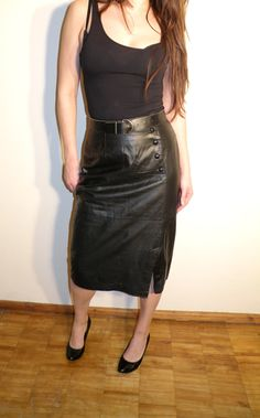 Vintage Black Leather Skirt Size 40 by JustGiza on Etsy, $19.00