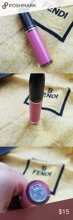nwot MAC liquid lipstick NWOT MAC retro matte liquid lipstick in Divine. Never been opened or swatched but box was ripped. Pics showing color on are not mine, as again, this has never been opened.  Beautiful cotton candy pink, perfect to do an ombre lip with a darker color or liner, and also perfect for the spring and summer.  All of my items are 100% authentic MAC Cosmetics Makeup Lipstick