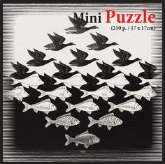 Mini Puzzle - MC Escher - Air and Water - 210 Teile - PUZZELMAN
