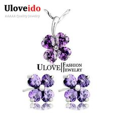 Find More Jewelry Sets Information about Uloveido 2016 New Purple Crystal Bridal Jewelry Sets Clover Earrings for Women Heart Necklace Set for Party Lover Gifts JS1698,High Quality earrings antique,China earring material Suppliers, Cheap earrings moonstone from Uloveido Official Store on Aliexpress.com