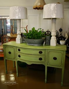 My local junk shop owner told gave me the idea of painting a china hutch green for my cobalt green dining room.. I can't find a hutch to go with my vintage Drexel Heritage bleached mahogony dining table and buffet.  Bold. very bold.