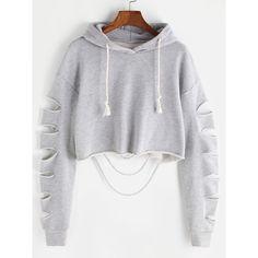 Heather Grey Drop Shoulder Ripped Sleeve Crop Hoodie (320 ARS) ❤ liked on Polyvore featuring tops, hoodies, grey, gray hooded sweatshirt, heather grey hoodie, pullover hoodies, cropped hoodies and long sleeve hoodie