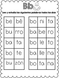 *Words {with 2 and 3 syllables} for each letter of the Spanish alphabet {including c fuerte, c suave, r fuerte, r suave, g fuerte, g suave, and güe, güi} *Sentences for each letter of the Spanish alphabet, except for letter W {only syllables}