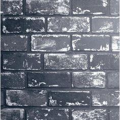 Arthouse Metallic Brick Black and Silver Wallpaper | 692202