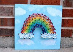 Rainbow Nail and String Art. $35.00, via Etsy.