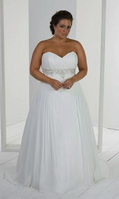White Sweetheart Plus Size Wedding Dresses WD4326
