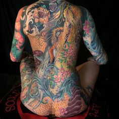 otsukare-sama deshita, Golden dragon holding rabbits and cherry blossoms, (some cover up, and worked around some pre existing) but over all, I love this tattoo on @tat2girl , I did the left sleeve of lanterns and the dragon.