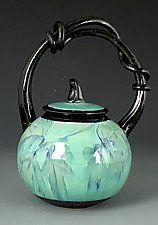 """Handled Pumpkin Basket by Suzanne Crane (Ceramic Vessel) (9"""" x 6"""")"""