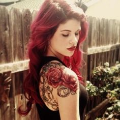 Rose Tattoo, love this... and her hair color, GUIOX,TATTOO KITS SALES ONLINE. Everyone who love tattoo,just flowing me!!!!!