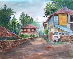 Village seen from palakkad, Kerala. Water color