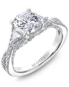 Platinum engagement ring with round diamonds   Scott Kay   http://trib.al/ZzCLyjf