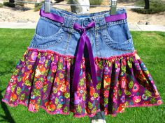 Girls Denim Skirt  Recycled Clothing  Girls by EleventhHourDesigns, $20.00