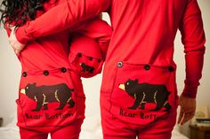Warm up with Lazy One's Red Bear Bottom Flapjacks Adult Pajamas! These stretchy, cotton long johns will keep you and yours toasty in a fun way. Christmas Onesie, Christmas Couple, Christmas Pictures, Christmas Time, Christmas Decor, Christmas Ideas, Christmas Gifts, Christmas Outfits, Plaid Christmas