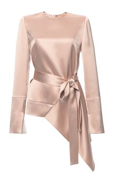 Crepe Satin Asymmetric Long Sleeve Blouse by MARNI Now Available on Moda Operandi