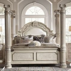 Monte Carlo II Poster Bed (Silver Pearl) Canopy Bedroom Sets, Luxury Bedroom Sets, Queen Canopy Bed, Bedroom Furniture Sets, Luxurious Bedrooms, Home Bedroom, Luxury Bedding, Bedding Sets, Furniture Design