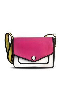 "Pink Sketched Sling - Add a fun spin to your attire with this pretty pink sling bag. Snap button closure leads to a zippered compartment. Extendable shoulder sling in yellow adds a classy colourful detail.  Colour:  Pink, White and beige.  Material:  PU.  Dimensions:  L- 10"", B- 3.5"", H- 8"".  Estimated delivery within 14 - 21 days after ordering."