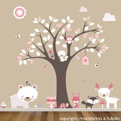 Forest and tree friends Nursery Wall Decals, Vinyl Wall Decals, Wall Stickers, Baby Bedroom, Girls Bedroom, Little Girl Rooms, Kid Beds, My Room, Office Decor