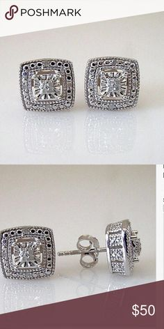 """24HRSALE.20CTTW Genuine Diamond  Halo Studs .20CTTW Genuine Round Diamond Square Halo Cluster Earrings--Solid Sterling Silver  1.    Diamond Square Halo Cluster Earrings   2.    Cut: Round Brilliant  3.    Total Diamond Weight: .20 Cttw  4.    Color: I-J  5.    Clarity: I2-I3  6.    Prong setting  7.    Sterling Silver  8.    Dimensions: .41"""" Square Jewelry Earrings"""