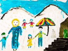 Topic for this session: Draw the future you hope for.   DRAWING BY A STUDENT AT THE FREE SYRIA SCHOOL    Picture of a drawing of a family standing in front of mountains, holding hands with each other.