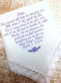 Mother in Law from Bride Wedding heirloom handkerchief custom embroidered personalized hankie gift embroidery parents, $30.00