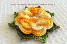 Flores, folhas de croche de linha e barbante