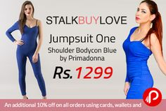 StalkBuyLove is offering Flat 25% off on Jumpsuit One Shoulder Bodycon Blue by Primadonna just at Rs.1299. Zipper at side seam, One shoulder style, Unlined. This outfit is perfect for an airport look, keeping you comfortable throughout the journey. Feel the figure with a smile in this attire that is rendered with one shoulder.  http://www.paisebachaoindia.com/jumpsuit-one-shoulder-bodycon-blue-by-primadonna-just-at-rs-1299-stalkbuylove/