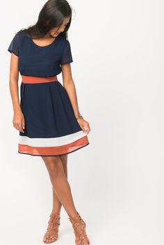 Colour Block Skater Dress With Sash